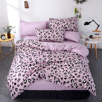 2019新款-芦荟棉四件套 三件套1.2m(4英尺)床 豹纹风尚-紫
