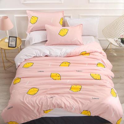 2019新款-芦荟棉四件套 三件套1.2m(4英尺)床 鲜柠檬