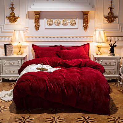 2019新款-方格魔幻绒四件套 床单款1.8m(6英尺)床 方格魔幻绒-酒红
