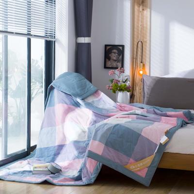 无印良品风格100%纯棉水洗色织新疆棉花夏被夏凉被空调被被子被芯 150x200cm 粉格