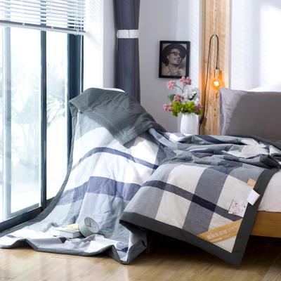 无印良品风格100%纯棉水洗色织新疆棉花夏被夏凉被空调被被子被芯 150x200cm 黑白格