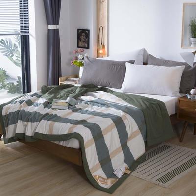 无印良品风格100%纯棉水洗色织新疆棉花夏被夏凉被空调被被子被芯 150x200cm 经典格