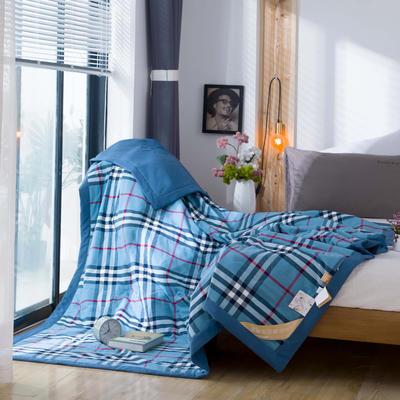 无印良品风格100%纯棉水洗色织新疆棉花夏被夏凉被空调被被子被芯 150x200cm 蓝红格
