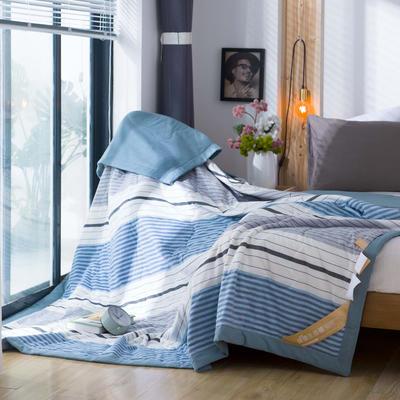 无印良品风格100%纯棉水洗色织新疆棉花夏被夏凉被空调被被子被芯 150x200cm 青春格
