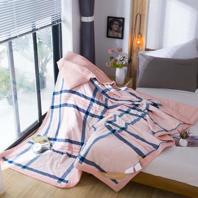 无印良品风格100%纯棉水洗色织新疆棉花夏被夏凉被空调被被子被芯 150x200cm 玉蓝格