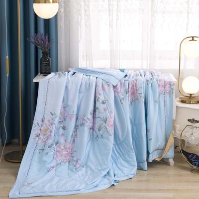 100%天丝印花夏被夏凉被空调被被子被芯 200cm*230cm 蓝色幽梦