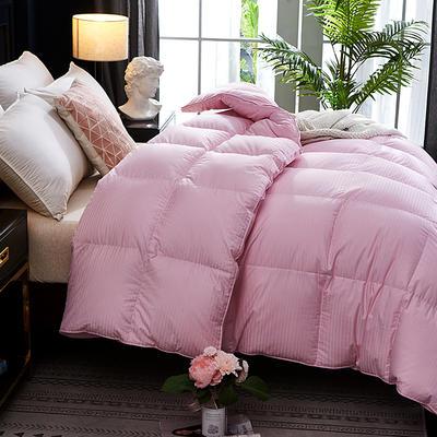 20220新款100支全棉贡缎条纹立体羽绒被冬被被子被芯 200*230cm促销款羽绒6.5斤 粉色