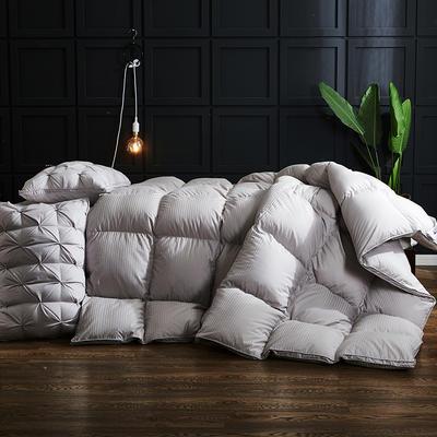 20220新款100支全棉贡缎条纹立体羽绒被冬被被子被芯 200*230cm促销款羽绒6.5斤 灰色