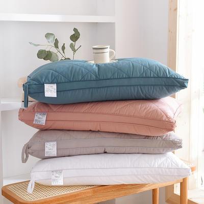全棉双线绗缝羽丝绒枕  立体款 全棉双线绗缝羽丝绒枕