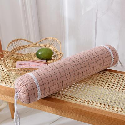 色织水洗棉荞麦糖果枕 粉灰格
