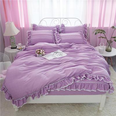 米娜系列-夹棉床笠款四件套 1.5m床 丁香紫