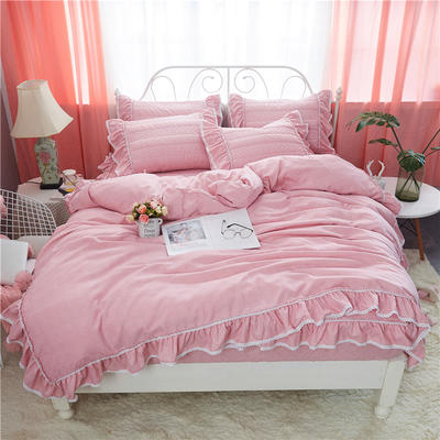 米娜系列-夹棉床笠款四件套 1.5m床 粉玉色