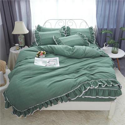 米娜系列-夹棉床笠款四件套 1.5m床 橄榄绿