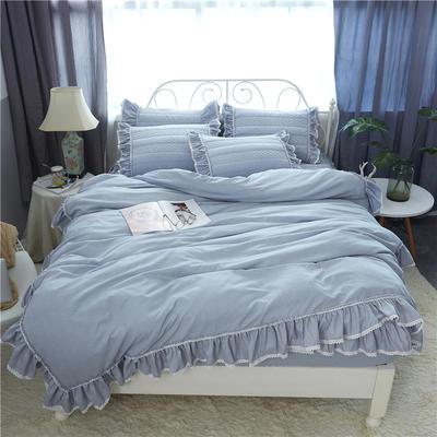 米娜系列-夹棉床笠款四件套 1.5m床 星空灰