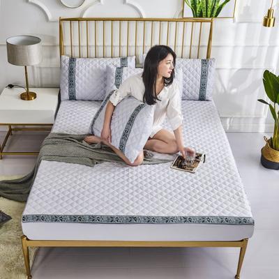 2019新款莫代尔夹棉单品床笠软席(绿野仙踪) 150cmx200cm 淡雅灰