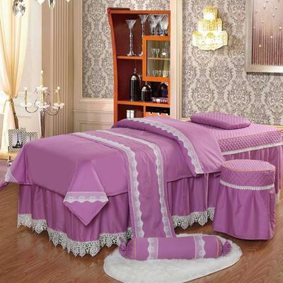 凤榻家纺   2018新品高密度纯棉美容床罩四件套 190x70cm方头 粉红