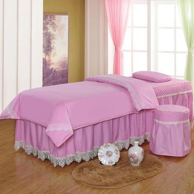 凤榻家纺   2018新品高密度纯棉美容床罩四件套 190x70cm方头 水粉