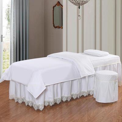 凤榻家纺   2018新品高密度纯棉美容床罩四件套 190x70cm方头 白色