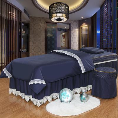 凤榻家纺   2018新品高密度纯棉美容床罩四件套 190x70cm方头 藏青