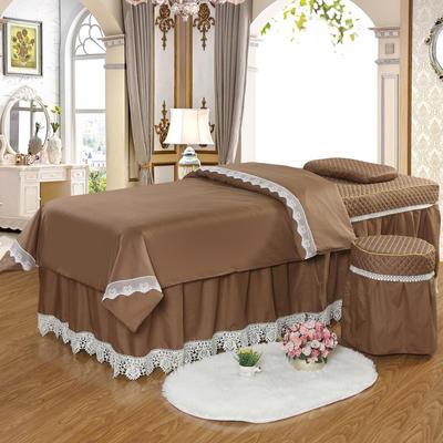 凤榻家纺   2018新品高密度纯棉美容床罩四件套 190x70cm方头 驼色