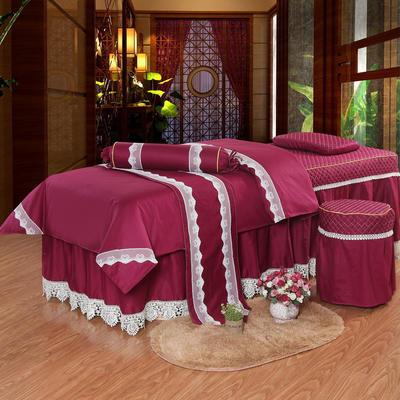 凤榻家纺   2018新品高密度纯棉美容床罩四件套 190x70cm方头 红色