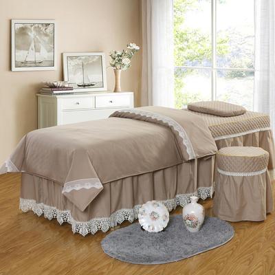 凤榻家纺   2018新品高密度纯棉美容床罩四件套 190x70cm方头 浅驼