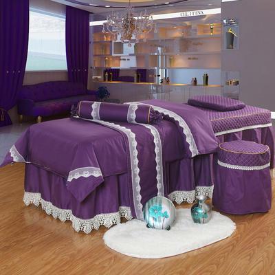 凤榻家纺   2018新品高密度纯棉美容床罩四件套 190x70cm方头 紫色