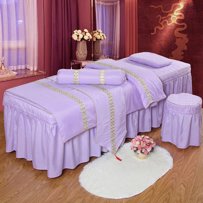 凤榻家纺   2018新品织带款美容床罩四件套 190x70cm方头 雪青