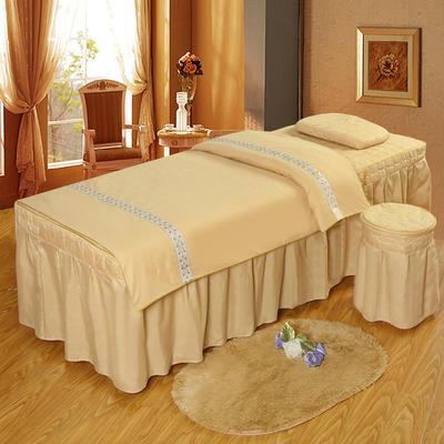 凤榻家纺   2018新品织带款美容床罩四件套 190x70cm方头 驼色