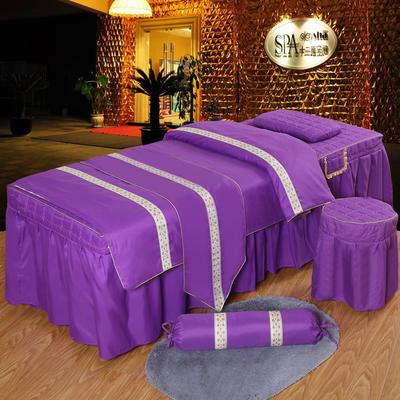 凤榻家纺   2018新品织带款美容床罩四件套 190x80cm方头 紫色