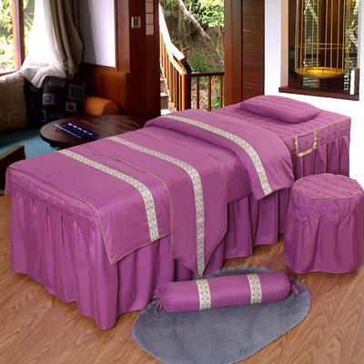 凤榻家纺   2018新品织带款美容床罩四件套 190x70cm方头 红豆沙色