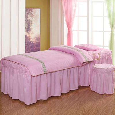 凤榻家纺   2018新品织带款美容床罩四件套 190x70cm方头 粉色