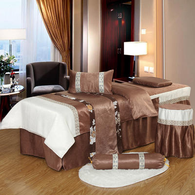 凤榻家纺   2018新品织带丝绒麻美容床罩四件套 185x70cm圆头 咖啡