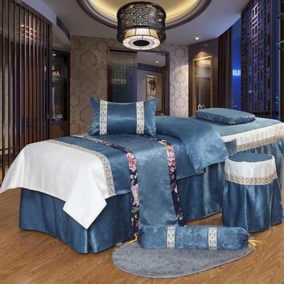 凤榻家纺   2018新品织带丝绒麻美容床罩四件套 185x70cm圆头 深蓝