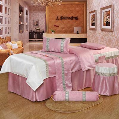 凤榻家纺   2018新品织带丝绒麻美容床罩四件套 190x70cm方头 胭脂粉
