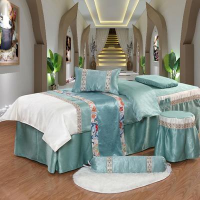凤榻家纺   2018新品织带丝绒麻美容床罩四件套 190x70cm方头 湖蓝