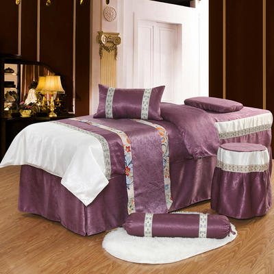凤榻家纺   2018新品织带丝绒麻美容床罩四件套 190x70cm方头 豆沙