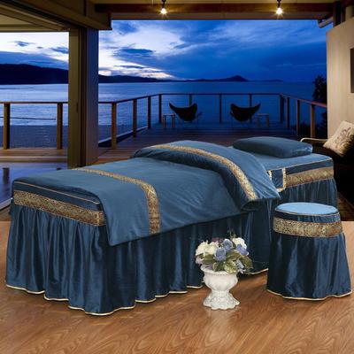 美容床罩四件套水晶绒中医按摩养生理疗会所单人床专用床裙罩定做 190x70方头五件套 深蓝色