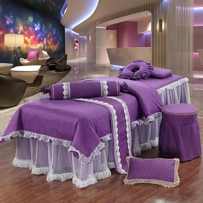 新款纯棉美容按摩床罩四件套中医养生理疗会所床专用床裙罩定做 190x70方头 深紫色