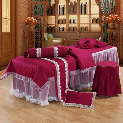新款纯棉美容按摩床罩四件套中医养生理疗会所床专用床裙罩定做 190x80方头 酒红色