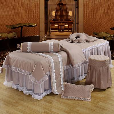 新款纯棉美容按摩床罩四件套中医养生理疗会所床专用床裙罩定做 其他尺寸定做+10元 卡其色