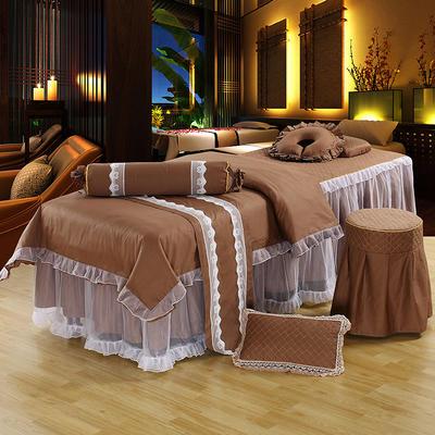 新款纯棉美容按摩床罩四件套中医养生理疗会所床专用床裙罩定做 190x70方头 深咖啡色