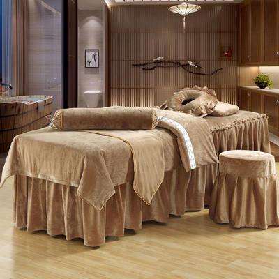 美容床罩四件套超柔加厚保暖水晶绒按摩养生spa会所单人床床裙罩 190x70方头 驼色