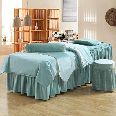 美容床罩四件套超柔加厚保暖水晶绒按摩养生spa会所单人床床裙罩 190x70方头 湖蓝色