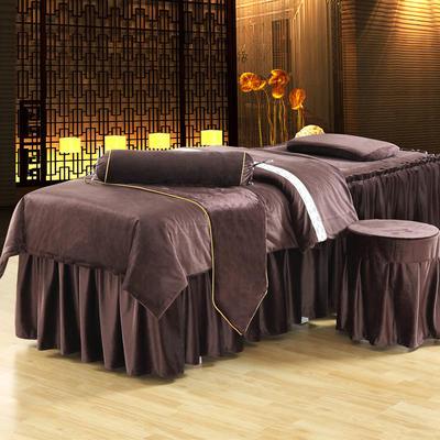 美容床罩四件套超柔加厚保暖水晶绒按摩养生spa会所单人床床裙罩 190x70方头 深咖色