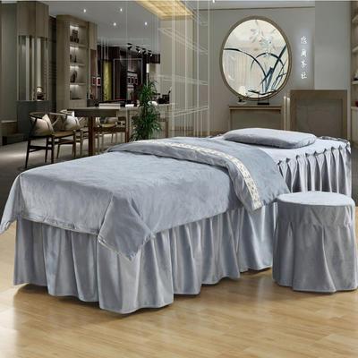 美容床罩四件套超柔加厚保暖水晶绒按摩养生spa会所单人床床裙罩 其他尺寸定做 灰色
