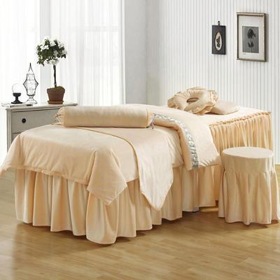 美容床罩四件套超柔加厚保暖水晶绒按摩养生spa会所单人床床裙罩 其他尺寸定做 米驼