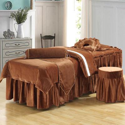 美容床罩四件套超柔加厚保暖水晶绒按摩养生spa会所单人床床裙罩 190x70方头 咖啡色