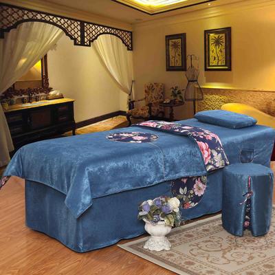 美容床罩四件套按摩理疗养生会所单人床床裙带洞定制床套 190x70方头五件套 深蓝色