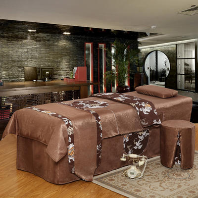 美容床罩四件套按摩理疗养生会所单人床床裙带洞定制床套 180x60方头圆头提前通知 咖啡色